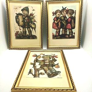 Vintage 1950's Set of 6 Hummel Framed Prints (5X8)